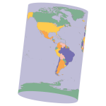 Political Map Earth Cylinder