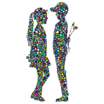 Polyprismatic Tiled Boy Giving Flowers To Girl Silhouette With Background
