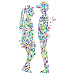 Polyprismatic Tiled Boy Giving Flowers To Girl Silhouette