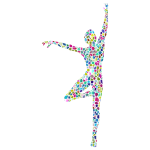 Polyprismatic Tiled Dancing Woman Silhouette