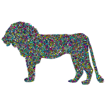Polyprismatic Tiled Lion Profile Silhouette With Background