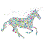 Polyprismatic Tiled Magical Unicorn Silhouette