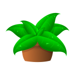 Vector drawing of large green leaves plant in pot