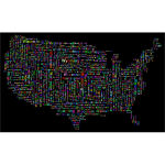 Prismatic America States And Capitals Word Cloud