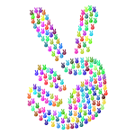 Prismatic Comic Hand Peace Sign Fractal