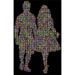 Prismatic Couple Holding Hands Silhouette 4 With Background
