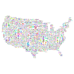 Prismatic Distorted America States And Capitals Word Cloud No Background