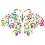 Prismatic Floral Flourish Butterfly Silhouette 2 No Background
