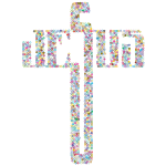 Prismatic Jesus Cross Typography Dots No Background