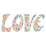 Prismatic Love Hearts Typography 3