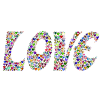 Prismatic Love Hearts Typography 4 Variation 2 No Background