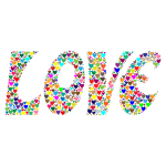 Prismatic Love Hearts Typography