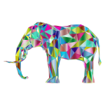 Prismatic Low Poly 3D Elephant Variation 2