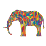 Prismatic Low Poly 3D Elephant Variation 4