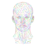 Prismatic Low Poly Female Head Wireframe No Background