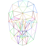 Prismatic Low Poly Wireframe Head No Background