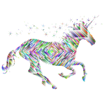 Prismatic Magical Unicorn Silhouette Concentric