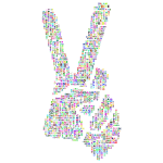 Prismatic Peace Hand Sign Smoothed Word Cloud