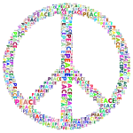 Prismatic Peace Sign Word Cloud No Background