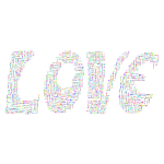 Prismatic Retro Love Typography Word Cloud No Background