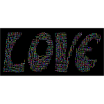 Prismatic Retro Love Typography Word Cloud