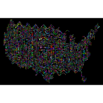 Prismatic Ripples America States And Capitals Word Cloud
