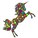 Prismatic Unicorn Silhouette 2 Circles 4
