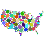 Prismatic United States Map Circles