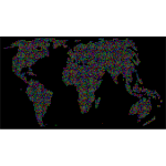 Prismatic World Map Dots 2 With Background