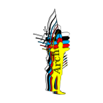 Vector image of archer man silhouette in multiple colors