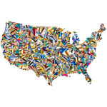 Psychedelic Low Poly America USA Map