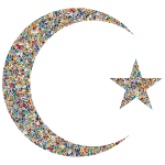 Psychedelic Tiled Crescent Moon And Star
