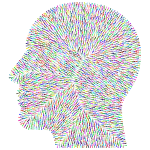 Human head silhouette color pattern