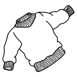 Vector drawing of thick jumper with elastic bands at sleeves