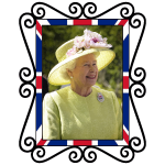 Image of color British Queen photo in standalone frame