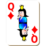 Queen of Diamonds gaming card vector illustration