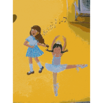 Ballet girls mural vector drawing