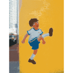 Vector clip art of boy playing football mural drawing