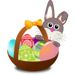 Bunny behind Easter eggs basket vector illustration