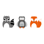 Raccoon Owl And Fox
