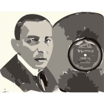 Rachmaninoff in Victor Advertisment (autotrace)