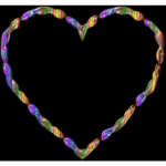 Rainbow Line Art Heart 3