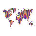 Rainbow Waves World Map