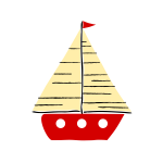 Red sail boat 02