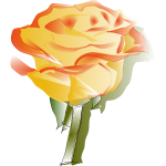Yellow rose vector drawing
