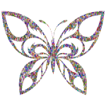 Reflective Iridescent Scales Tribal Butterfly Silhouette