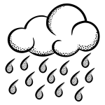 Vector illustration of think line art rainy cloud