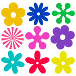 Selection of retro flowers vector graphics