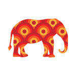 Retro Circles Elephant