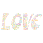 Retro Love Typography Word Cloud No Background